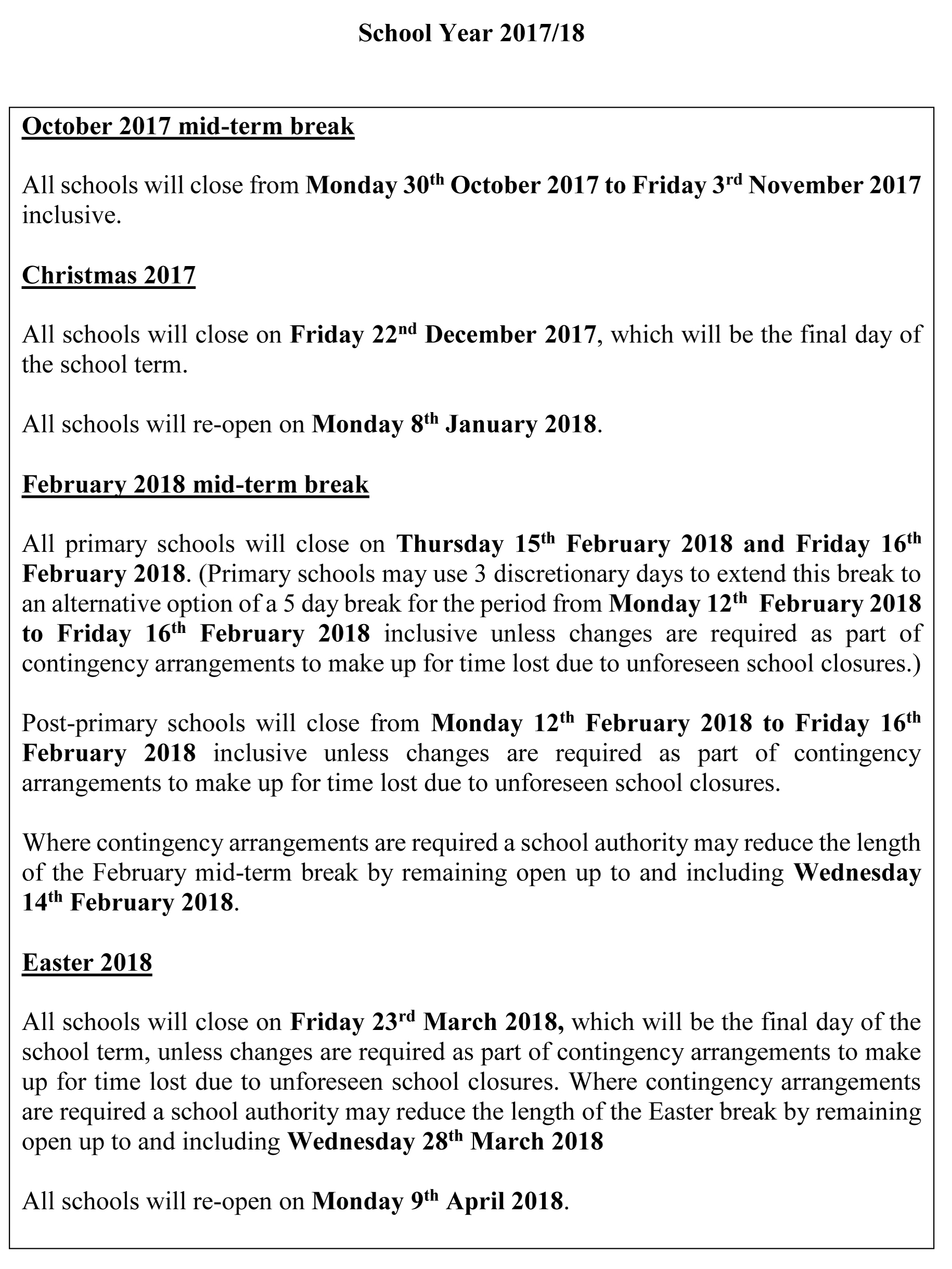 School Holiday Breaks | St Colmcille's Parents' Association